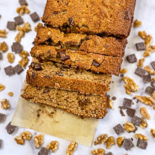 Paleo and gluten free chocolate chip banana bread