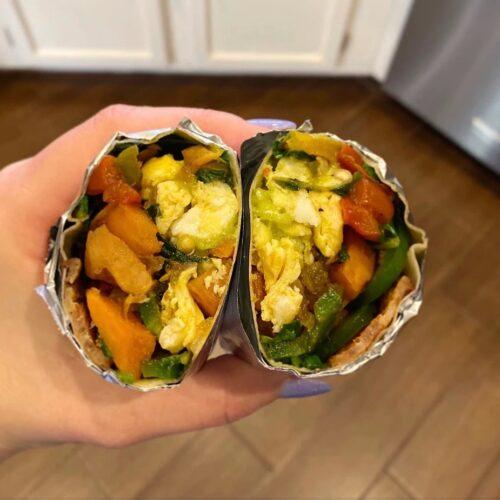 Whole30 Egg, Bacon, and Veggie Breakfast Burrito